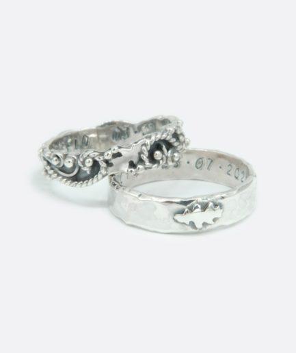 alianzas de boda realizadas en plata. artesanía. alianzas únicas.